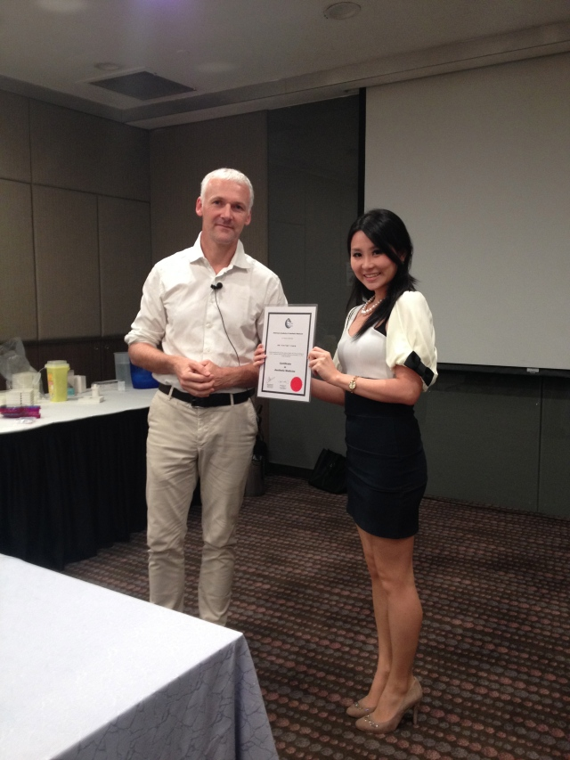tiffiny yang getting her certificate!