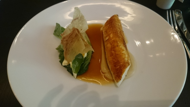 main dish: chicken cooked with lettuces, grilled onion emulsion, spiced celeriac sauce & oyster leaves...