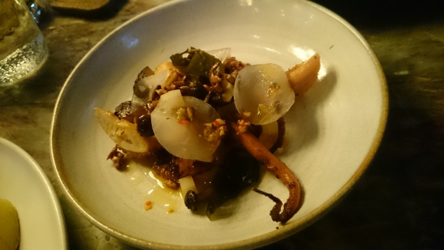 starter: grilled galician octopus, auberigine, daikon, mushrooms