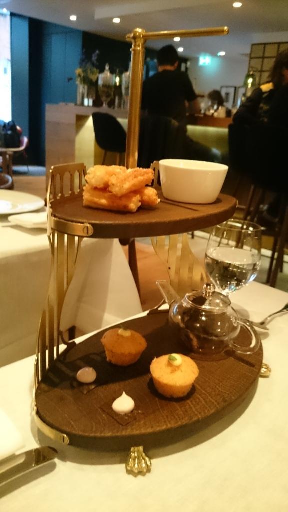 starters: mushroom tea, olive biscuits, madelines