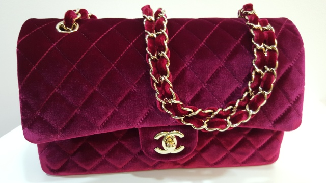velvet red chanel flap bag
