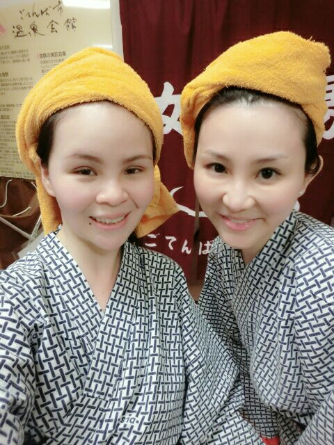 enjoying ourselves in the onsen!