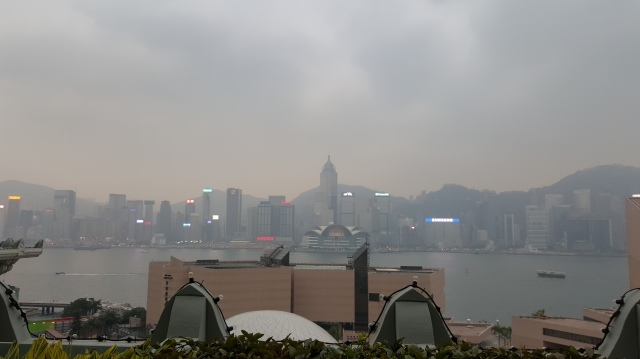 this is the view from the sky garden at peninsula hotel, hong kong