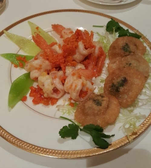 Tang Court's Award Winning Dishes: Sauteed prawns and crab roe accompanied with golden-fried pork and crab meat puffs.