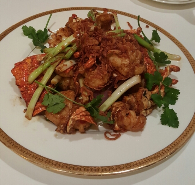 Tang Court's Award Winning DIshes: Stir fried fresh lobster with spring onions, red onions and shallots.