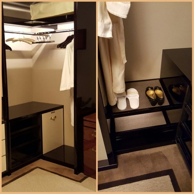 walk in dressing room, complete with valet box and dressing table.