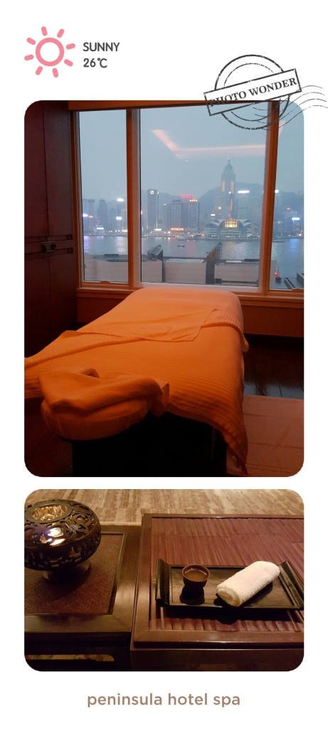Peninsula hotel spa… Balinese massage with a view of the harbor.