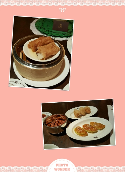 Above: Steamed chicken rolls with abalone, fish maw and black mushrooms; below: baked barbecued pork puffs